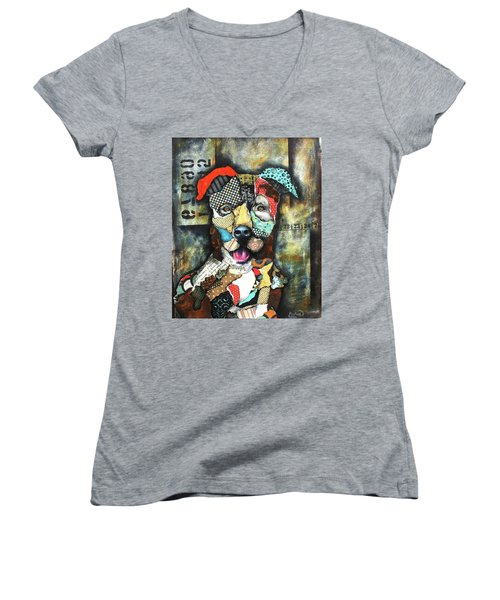 Pit Bull Women's V-Neck T-Shirt (Junior Cut) by Patricia Lintner