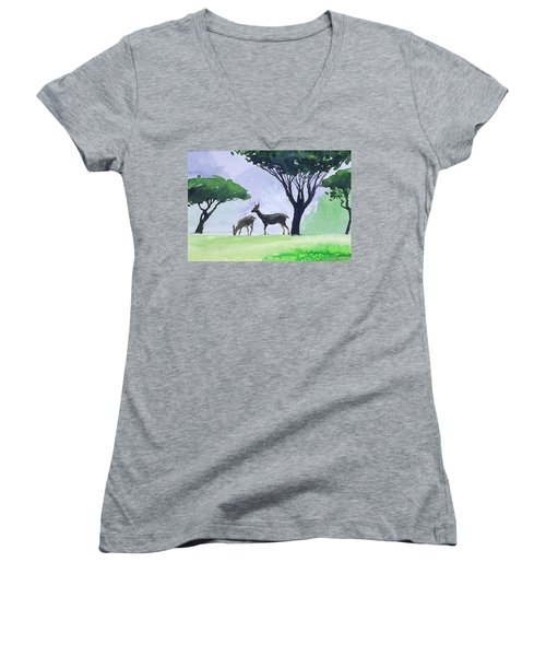 Women's V-Neck T-Shirt (Junior Cut) featuring the painting Point Lobos by Ed Heaton