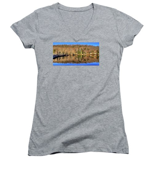 Women's V-Neck T-Shirt (Junior Cut) featuring the photograph Pond Reflections by David Patterson