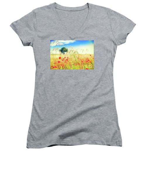 Women's V-Neck T-Shirt featuring the photograph Poppies With Tree In The Distance by Silvia Ganora