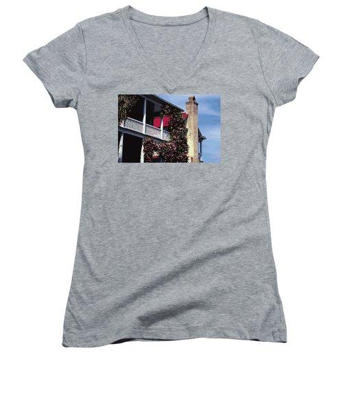 Porch In Bloom Women's V-Neck T-Shirt (Junior Cut) by Glenn Gemmell