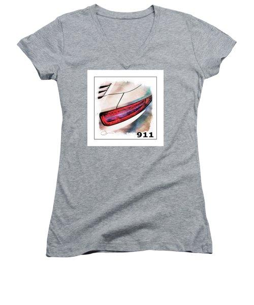 Porsche 911 Women's V-Neck T-Shirt (Junior Cut) by Robert Smith