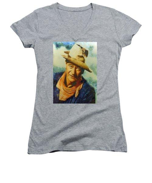 Portrait Of John Wayne Women's V-Neck