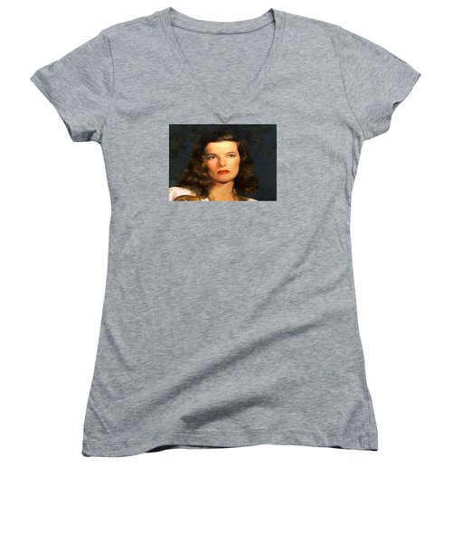 Women's V-Neck T-Shirt (Junior Cut) featuring the digital art Portrait Of Katherine Hepburn by Charmaine Zoe