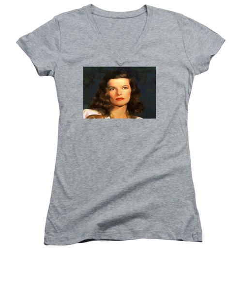 Portrait Of Katherine Hepburn Women's V-Neck
