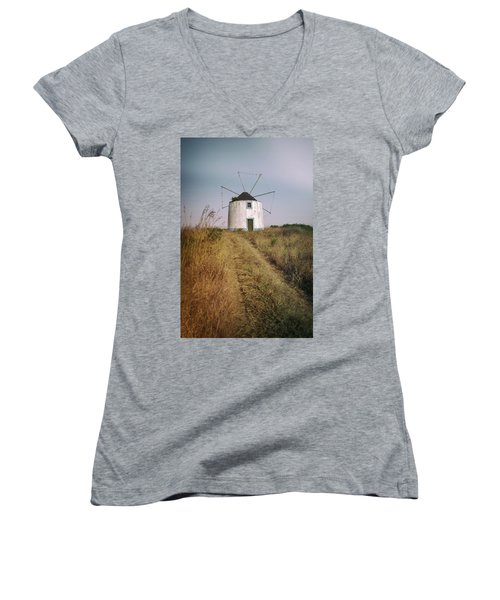 Women's V-Neck T-Shirt (Junior Cut) featuring the photograph Portuguese Windmill by Carlos Caetano