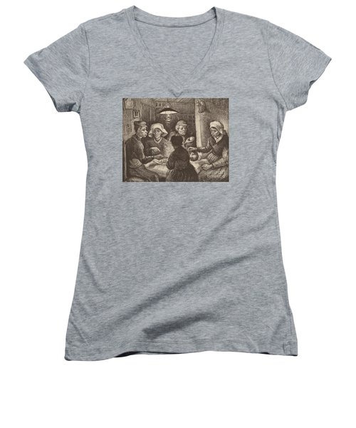 Potato Eaters, 1885 Women's V-Neck T-Shirt (Junior Cut) by Vincent Van Gogh