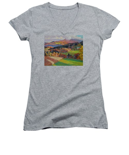 Pownel Vermont Women's V-Neck T-Shirt