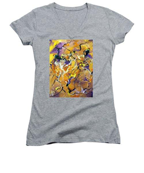 Women's V-Neck T-Shirt (Junior Cut) featuring the painting Praise Dance by Raymond Doward
