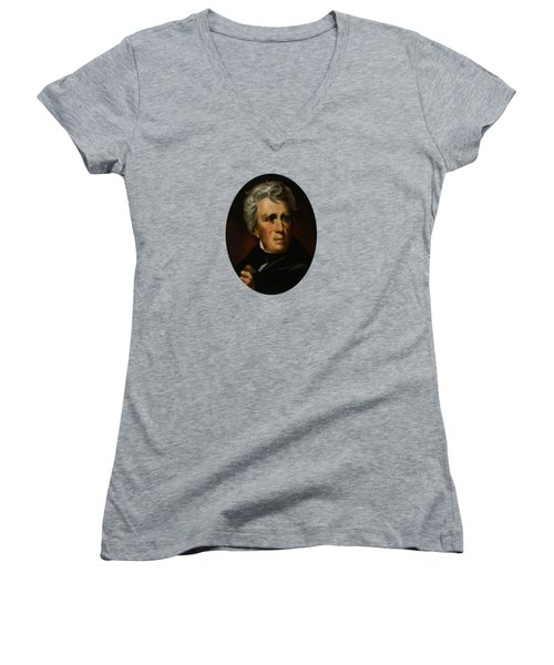 Women's V-Neck T-Shirt (Junior Cut) featuring the painting President Andrew Jackson  by War Is Hell Store
