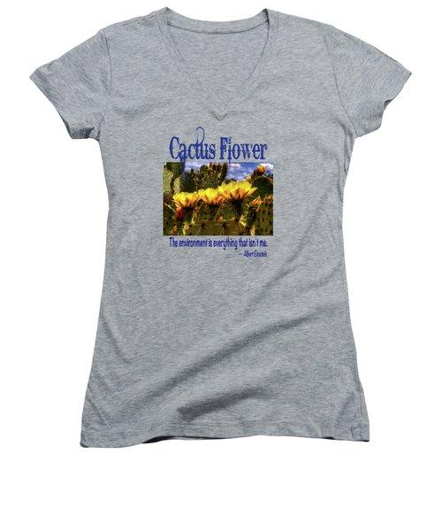 Prickly Pear Cactus Flowers Women's V-Neck T-Shirt (Junior Cut) by Roger Passman
