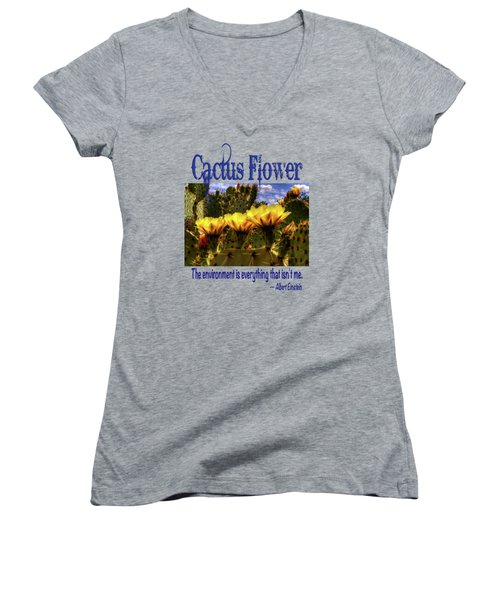 Prickly Pear Cactus Flowers Women's V-Neck (Athletic Fit)