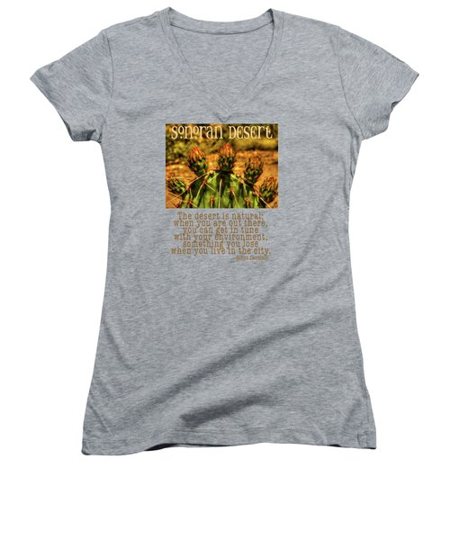 Prickly Pear Cactus Women's V-Neck T-Shirt (Junior Cut) by Roger Passman