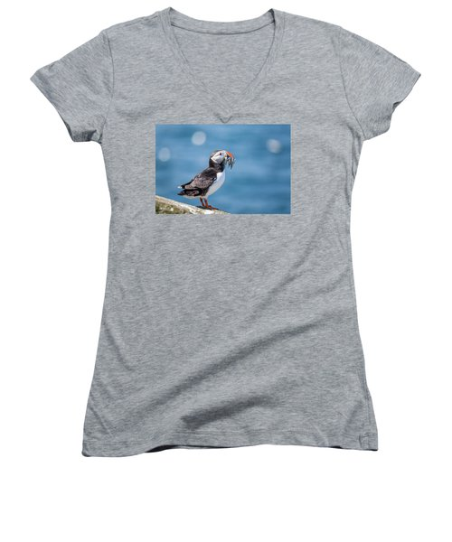 Puffin With Fish For Tea Women's V-Neck (Athletic Fit)