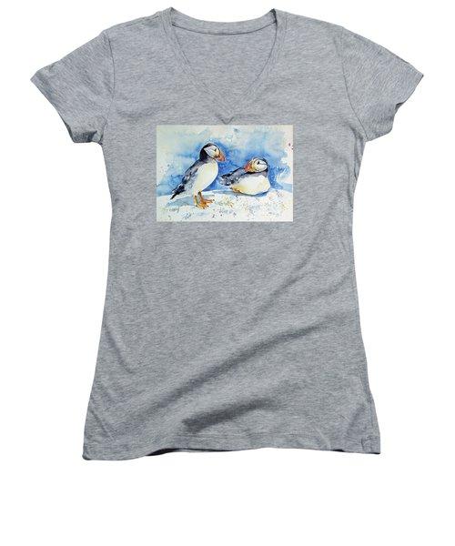 Puffins Women's V-Neck T-Shirt (Junior Cut)