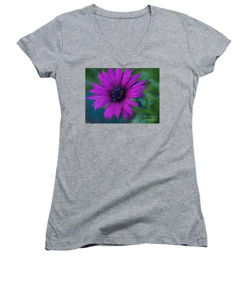 Women's V-Neck T-Shirt (Junior Cut) featuring the photograph Purple by Trena Mara