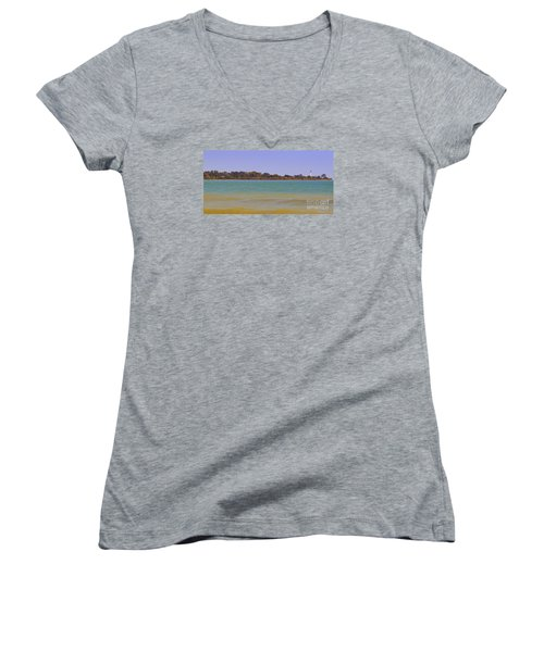 Women's V-Neck T-Shirt (Junior Cut) featuring the photograph Racine Lakefront by Ricky L Jones