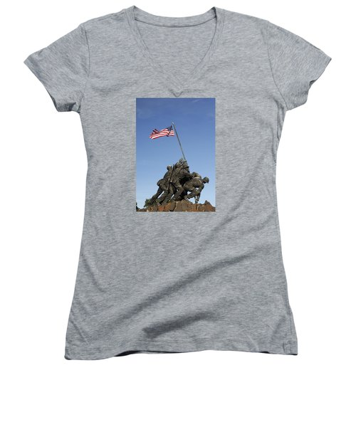 Raising The Flag On Iwo - 799 Women's V-Neck T-Shirt (Junior Cut) by Paul W Faust -  Impressions of Light