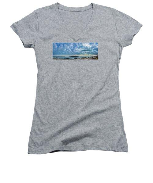 Ram Island Light Women's V-Neck T-Shirt (Junior Cut) by Alana Ranney