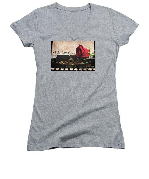 Red Rose On Typewriter Women's V-Neck T-Shirt