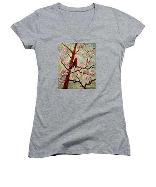 Women's V-Neck T-Shirt (Junior Cut) featuring the painting Red Tangler by Denise Tomasura