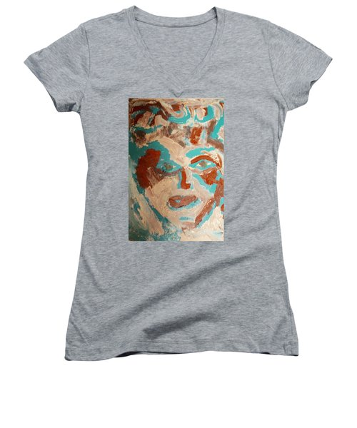 Women's V-Neck T-Shirt (Junior Cut) featuring the painting Red White And Blue by Shea Holliman