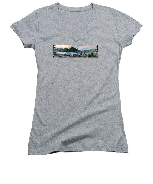 Rhinefalls, Switzerland Women's V-Neck T-Shirt (Junior Cut) by Elenarts - Elena Duvernay photo
