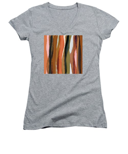 Women's V-Neck T-Shirt (Junior Cut) featuring the painting Ribbons by Bonnie Bruno