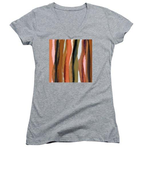 Ribbons Women's V-Neck T-Shirt (Junior Cut) by Bonnie Bruno
