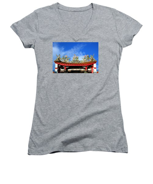 Women's V-Neck T-Shirt (Junior Cut) featuring the photograph Richly Decorated Chinese Temple Roof by Yali Shi