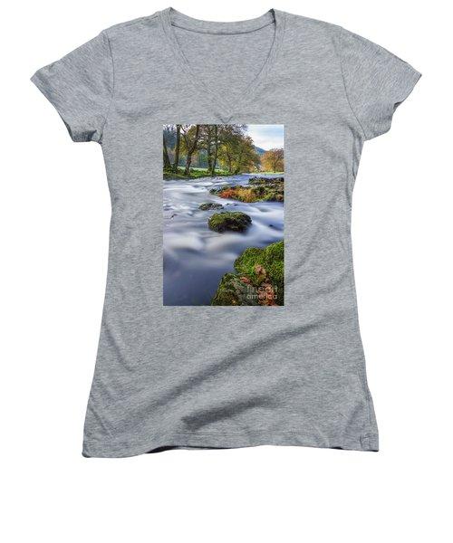 River Llugwy Women's V-Neck T-Shirt (Junior Cut) by Ian Mitchell