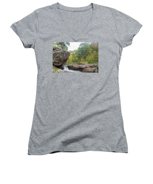 Rocky Creek Shut-ins Women's V-Neck T-Shirt (Junior Cut) by Julie Clements