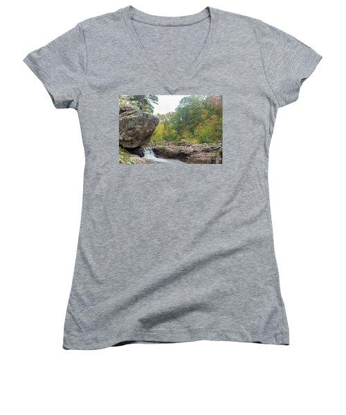 Rocky Creek Shut-ins Women's V-Neck T-Shirt (Junior Cut)