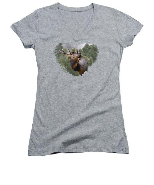 Women's V-Neck T-Shirt (Junior Cut) featuring the photograph Rocky Mountain Elk by Jennifer Muller