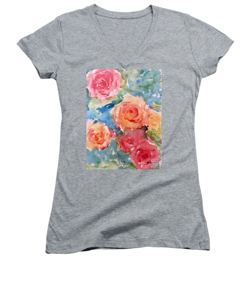 Roses Women's V-Neck T-Shirt (Junior Cut) by Trilby Cole