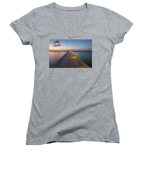 Women's V-Neck T-Shirt featuring the photograph Rum Point Pier At Sunset by Adam Romanowicz