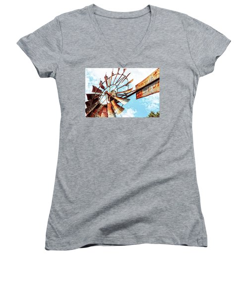 Rusted Windmill Women's V-Neck (Athletic Fit)