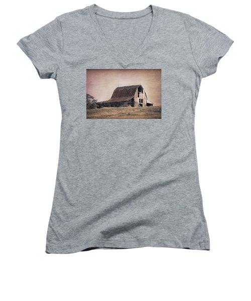 Rustic Barn Women's V-Neck T-Shirt (Junior Cut) by Tom Mc Nemar