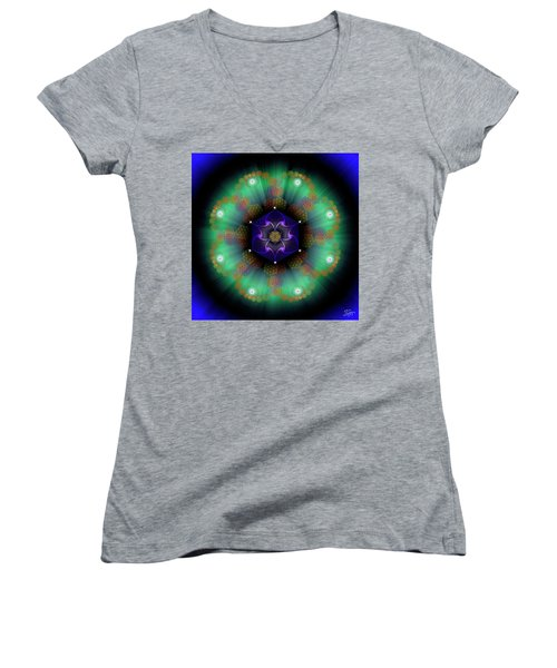Sacred Geometry 638 Women's V-Neck T-Shirt (Junior Cut) by Endre Balogh
