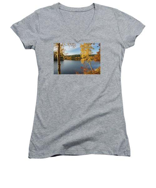 Saegemuellerteich, Harz Women's V-Neck T-Shirt (Junior Cut) by Andreas Levi