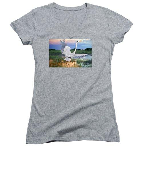 Sail Into Sunset Women's V-Neck T-Shirt (Junior Cut) by Judy Kay