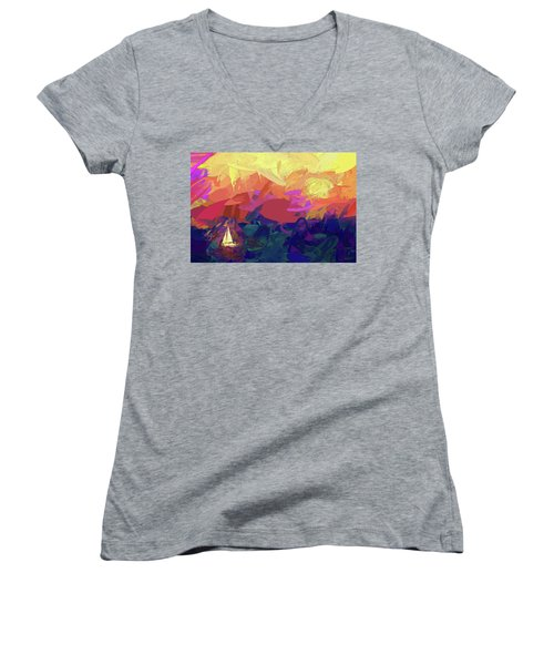 Women's V-Neck T-Shirt (Junior Cut) featuring the photograph Sailing by James Bethanis