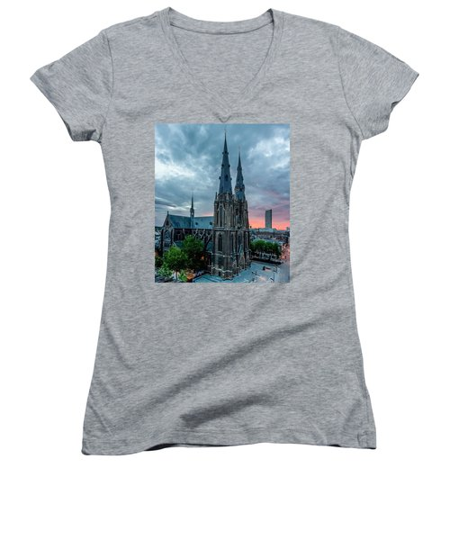 Saint Catherina Church In Eindhoven Women's V-Neck T-Shirt (Junior Cut) by Semmick Photo