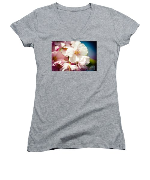 Sakura Blossoms Pink Cherry Artmif.lv Women's V-Neck