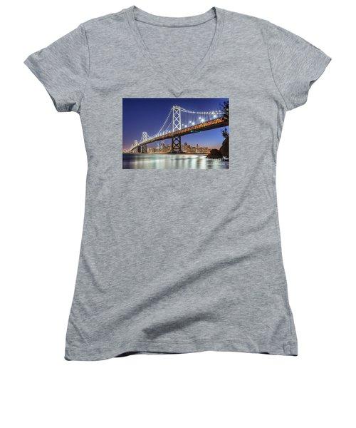 San Francisco City Lights Women's V-Neck T-Shirt (Junior Cut) by JR Photography