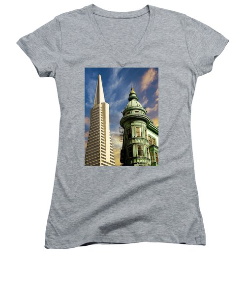 San Francisco Then And Now Women's V-Neck