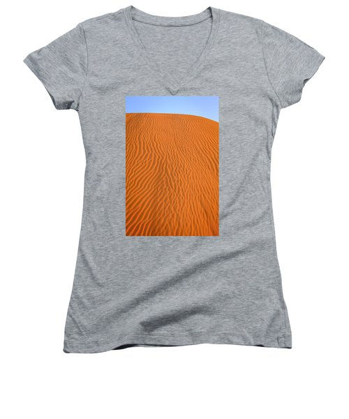 Women's V-Neck T-Shirt (Junior Cut) featuring the photograph Sand Pattern by Alexey Stiop
