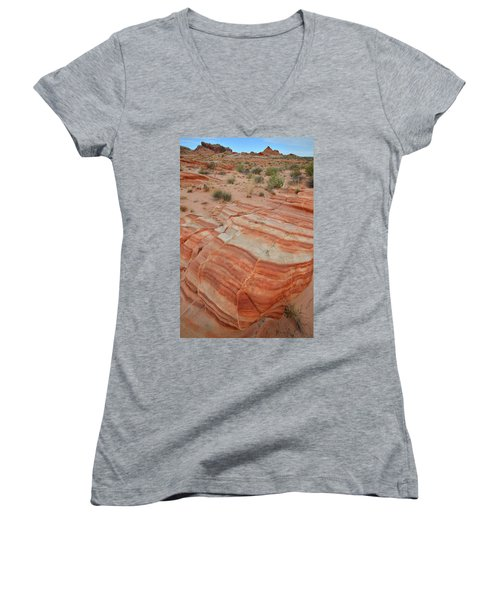 Women's V-Neck T-Shirt (Junior Cut) featuring the photograph Sandstone Stripes In Valley Of Fire by Ray Mathis