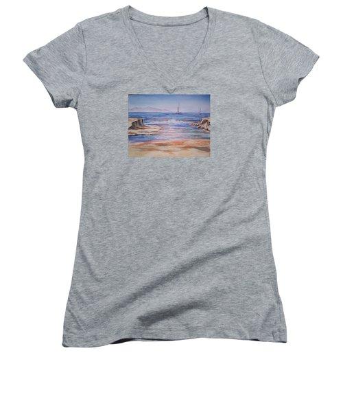 Santa Cruz Women's V-Neck T-Shirt (Junior Cut) by Becky Chappell