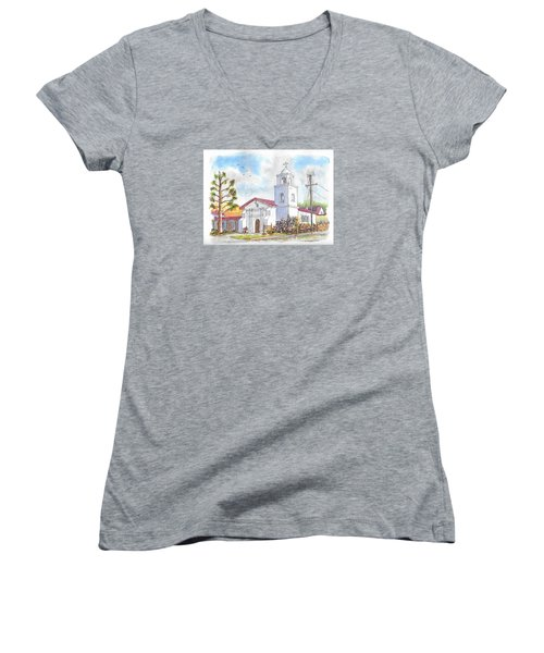 Santa Cruz Mission, Santa Cruz, California Women's V-Neck T-Shirt (Junior Cut) by Carlos G Groppa